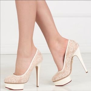 Charlotte Olympia Polly Pumps Lace Platform 6.5